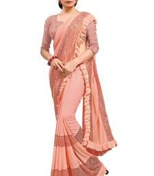 Peach plain lycra saree with blouse