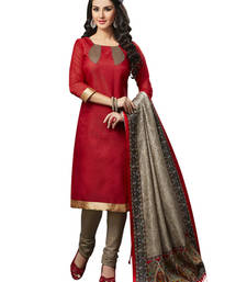 Buy Red printed jute silk unstitched salwar with dupatta dress-material online