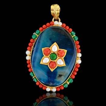 Oval shape Flower Art Sojo Pendant
