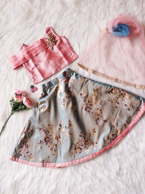 Onion-Pink/Teal - IMP Foil Print Circular Pattern Lehenga with Flap-Style Choli & Net Dupatta for Girl Kids