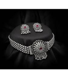 Maroon Tradtional silver Plated Alloy Necklace