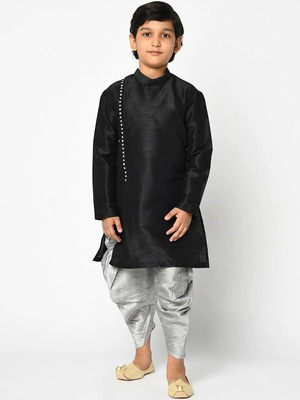 Boys Black & Grey Solid Kurta with Patala Pants