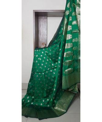 blue banarasi brocade woven   saree with blouse
