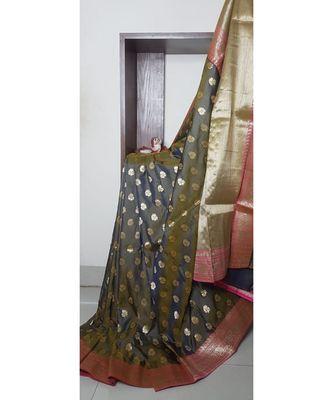 grey banarasi brocade woven   saree with blouse