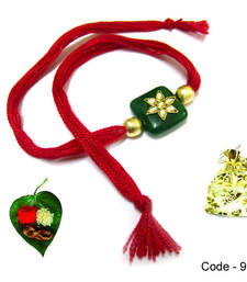 Buy Green Red Semi precious Rakhi precious-rakhi online