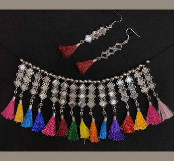 Afghani Style Silver Oxidised Mirror Choker Necklace Set With Tribal Colourful Cotton Thread For Women