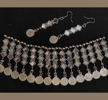 Oxidized Silver Brass and Choker Mirror Work Necklace With Earrings Set for Women & Girls