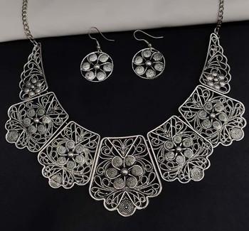 Afghani Oxidised Silver Jewellery Stylish Choker Necklace Set for Women & Girls
