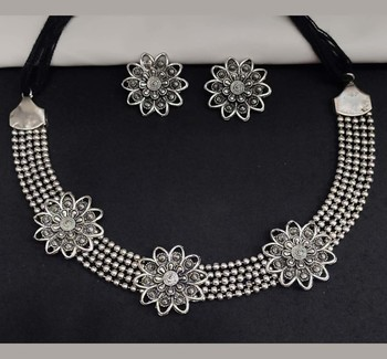 German Silver Oxidised Jewellery Set Traditional Choker Necklace Set for Women and Girls