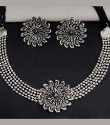 Oxidized German Silver Choker Necklace with Earrings for Women and Girls