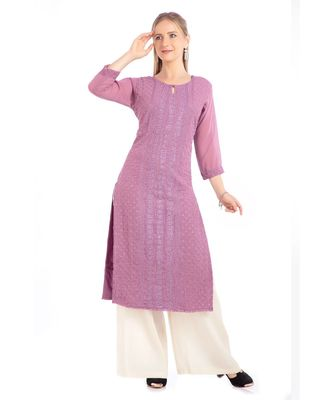 Pink Georgette Embroidered Stitched   Kurti