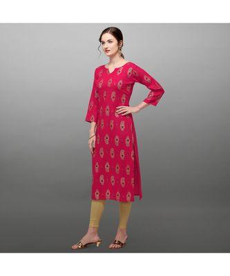 pink Rayon Printed Stitched   Kurti