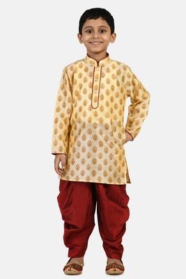 Gold printed blended cotton boys-dhoti-kurta