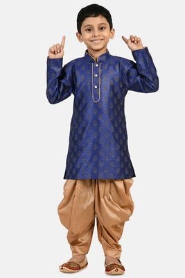 Blue printed blended cotton boys-dhoti-kurta