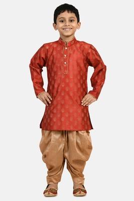 Maroon printed blended cotton boys-dhoti-kurta