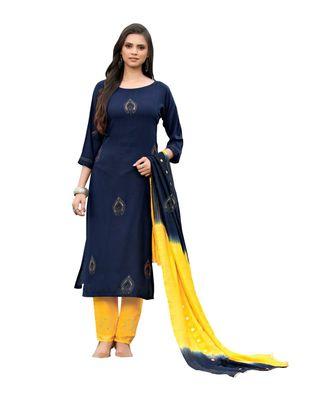 blue rayon plain stitched kurti & bottom with dupatta