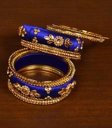 Silk Thread and Zircon Stone Embellished Designer Bangle Set BD532