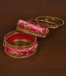 Silk Thread and Zircon Stone Embellished Designer Bangle Set BD533