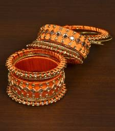 Silk thread with Zircon Stone worked Bangle Set for Women BD537