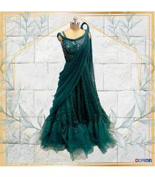 Draped saree look green gown with shimmers and embroidery