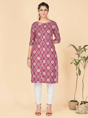 Pink Printed Rayon Straight Stitched Kurta