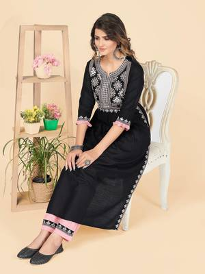Black Embroidered Rayon A-Line With Side Slit Stitched Kurta With Pant