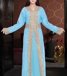 Sale Sky Blue Dubai Moroccan Net Kaftan Style Lais Jackit Kaftan Dress