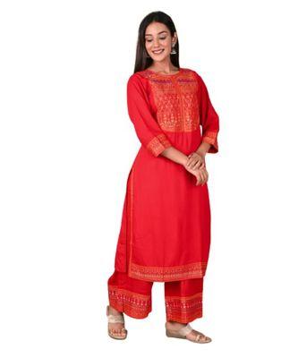 Red Rayon Printed stitched  KurtI