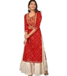 Red Rayon Gota Work stitched Kurti