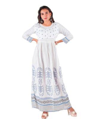 White Rayon Printed stitched  KurtI