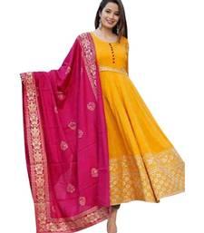 Yellow Rayon Printed stitched  KurtI