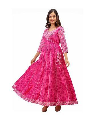 Pink Rayon Gota Work stitched  KurtI