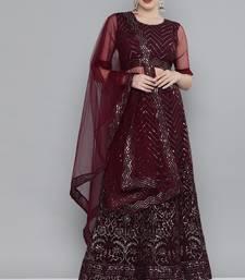 Kvsfab Magenta Embellished Semi-Stitched Lehenga & Unstitched Blouse With Dupatta