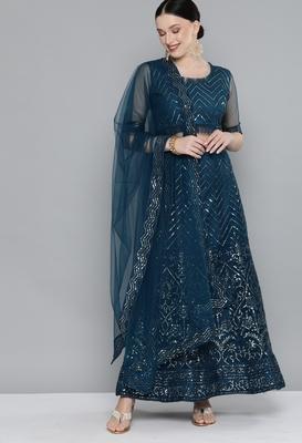Kvsfab Teal Embellished Sequinned Semi-Stitched Lehenga & Unstitched Blouse With Dupatta