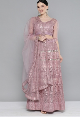 Kvsfab Pink Net Sequinned and Embroidered Semi-Stitched Lehenga & Unstitched Blouse With Dupatta