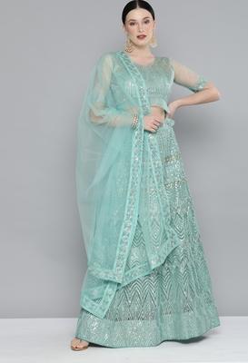 Kvsfab Green & Silver-Toned Embellished Sequinned Semi-Stitched Lehenga & Unstitched Blouse With Dupatta