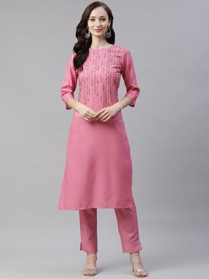 Pink printed viscose rayon kurtas-and-kurtis
