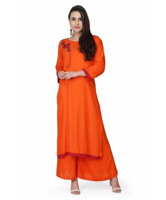 Rayon Orange stitched  Kurti