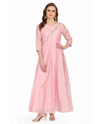 Chandari silk Pink stitched  Kurti