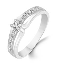 Single Solitaire Rhodium Plated Brass Ring for Women and Girls