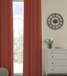 ROSARA HOME Pack of Single Eyelet Polyester Curtain,Rust