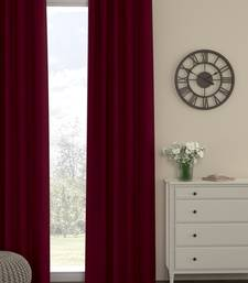 ROSARA HOME Pack of Single Eyelet Polyester Curtain,Maroon