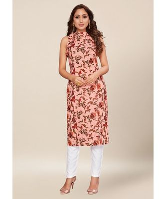 Pink silk stitched Sleeveless   Kurti