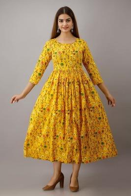 Fashionfricks Yellow Rayon Anarkali Kurti