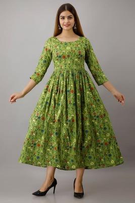 Fashionfricks Green Rayon Anarkali Kurti