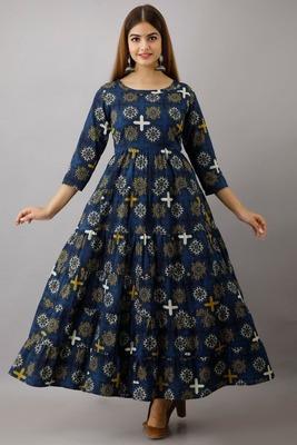 Fashionfricks Blue Rayon Anarkali Kurti