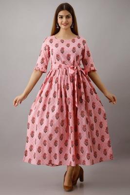 Fashionfricks Pink Rayon Anarkali Kurti