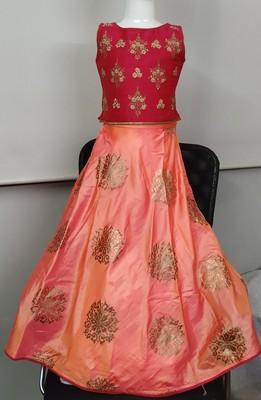 Cherry/Orange - Gold Block Print Circular Cut Lehenga with Jari Embroidered Choli & Net Dupatta for Girl Kids