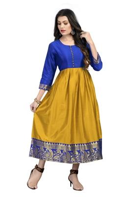 Fashionfricks Mustard Silk Long Gown