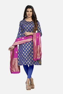 Fashionfricks Blue Banarasi Silk Top And Dupatta